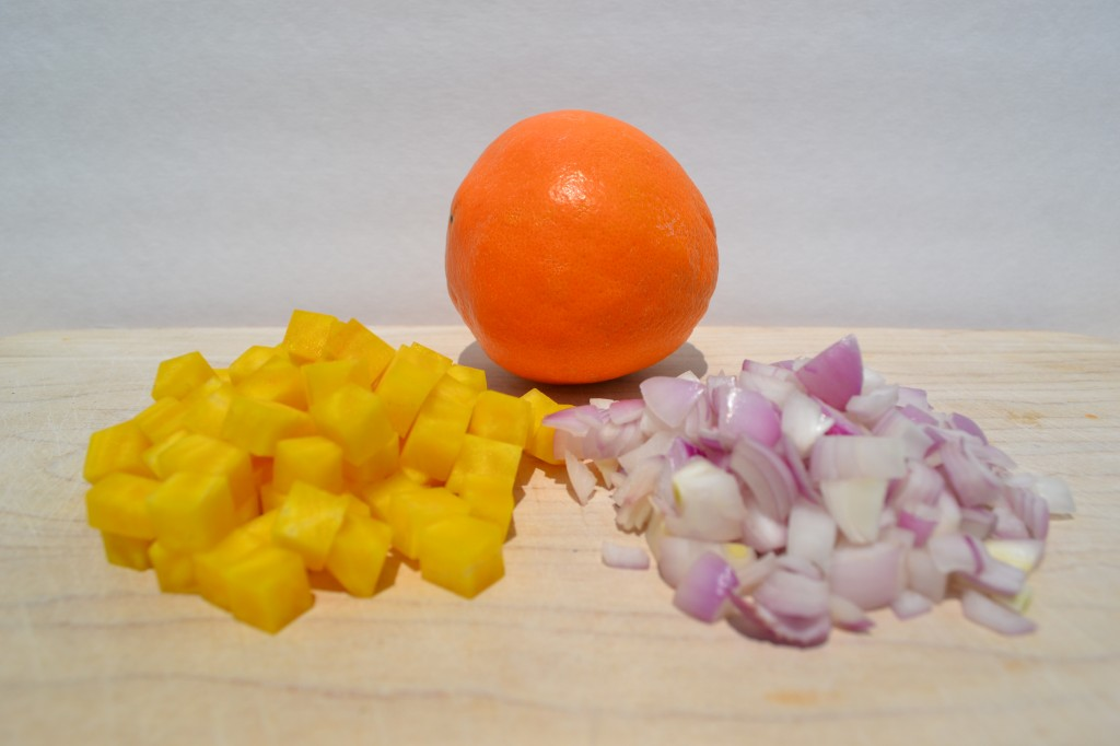 Diced golden beet, shallots, and orange for chutney
