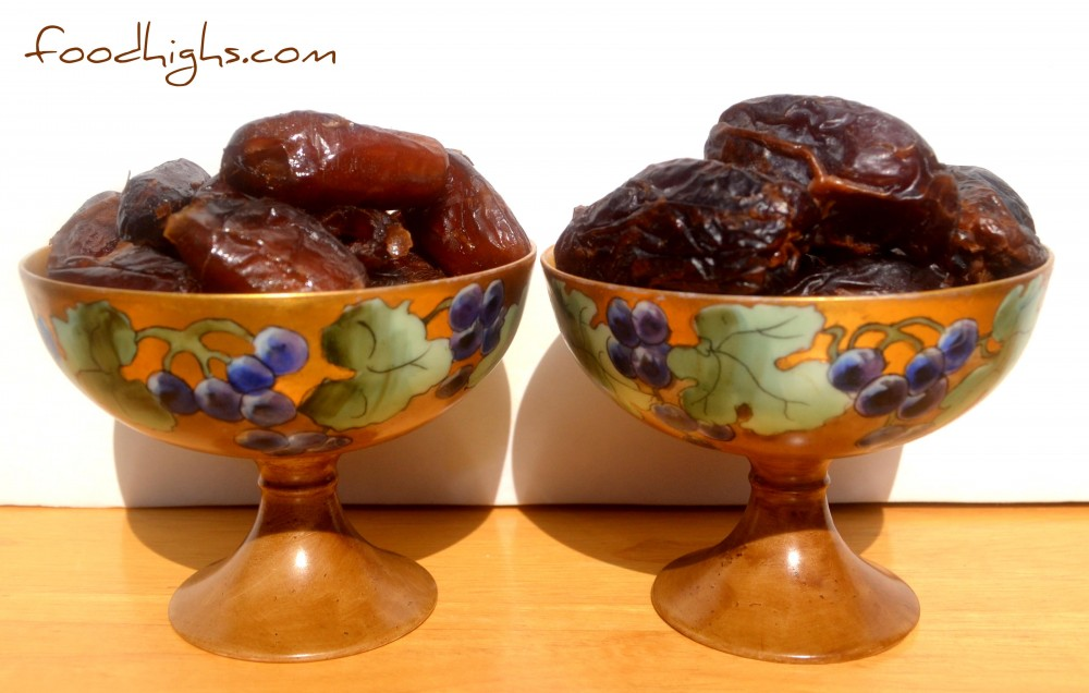 Medjool dates on the right. Plump. dark, sweet, caramel-like... nature's ready-made candy.