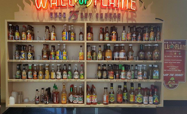 caliiforniatortilla_wall of hotsauce2